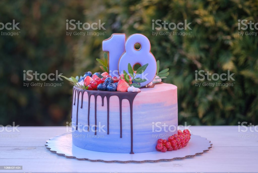 Excellent Beautiful Birthday Cake With The Number Eighteen Stock Photo Funny Birthday Cards Online Overcheapnameinfo