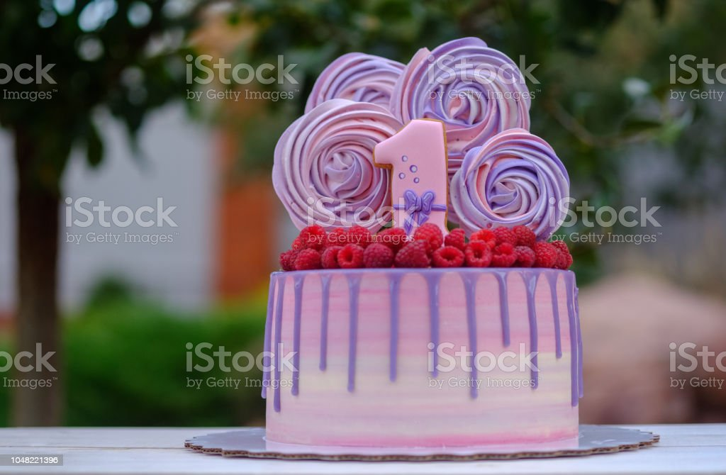 Beautiful Birthday Cake With The Number One Stock Photo
