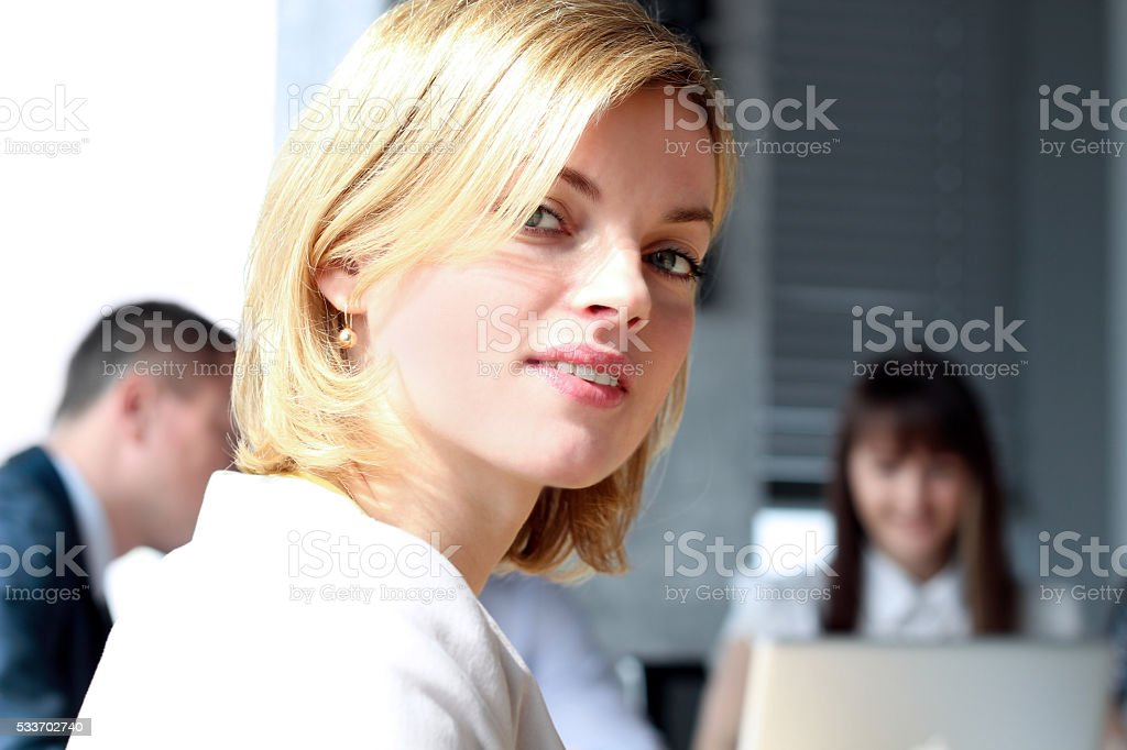Beautiful bisness woman. Business colleagues analyzing financial figures stock photo