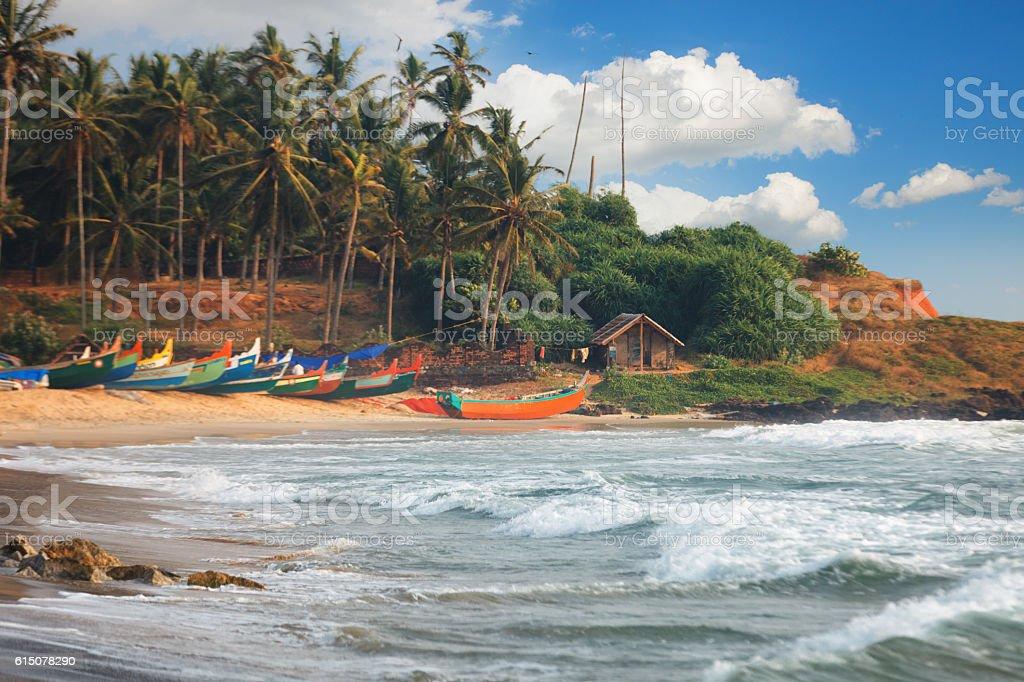 Beautiful black beach in Varkala, Kerala, India stock photo