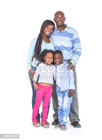 Beautiful black family looking at the camera smiling - isolated over a white background