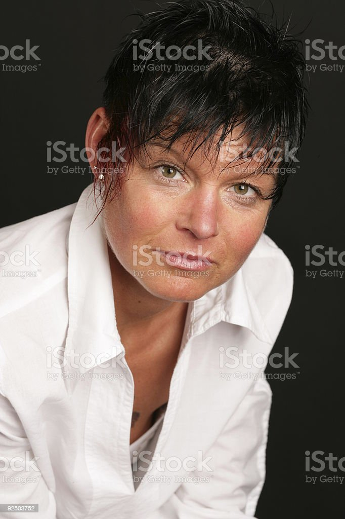 Beautiful black haired model royalty-free stock photo