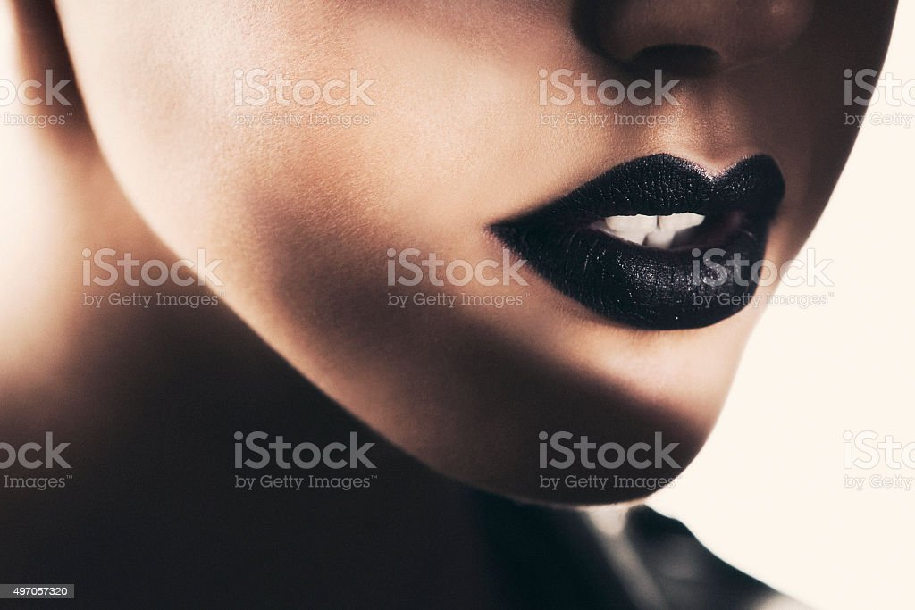 Beautiful black lips stock photo