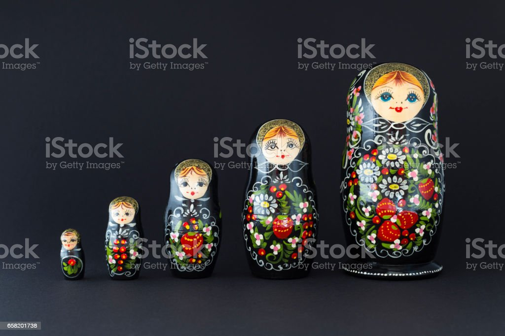 Beautiful black russian nesting dolls stock photo