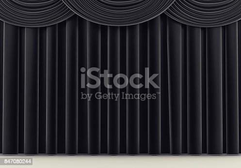 939155332 istock photo Beautiful black stage curtain. 3d render 847080244