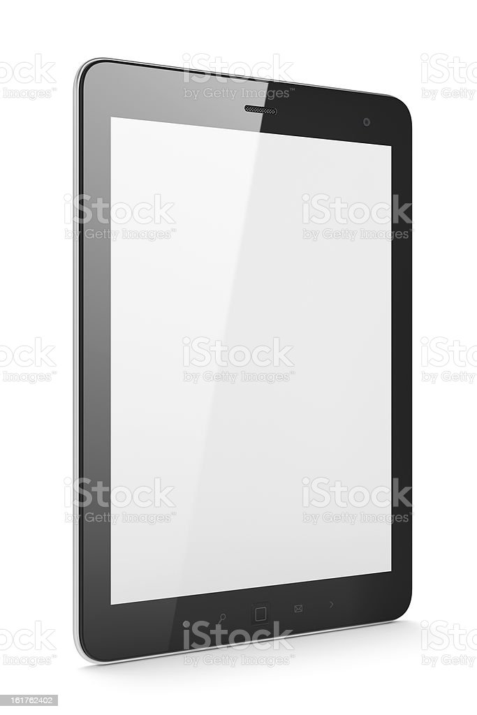 Beautiful black tablet computer pc on white background royalty-free stock photo