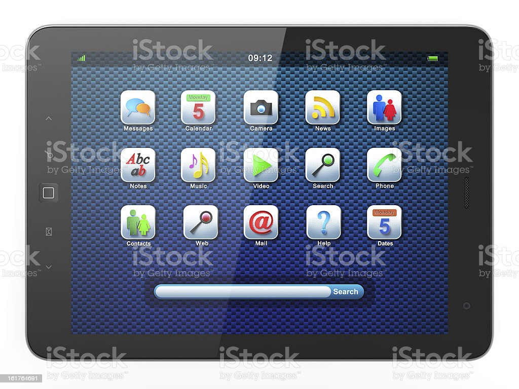 Beautiful black tablet pc on white background royalty-free stock photo