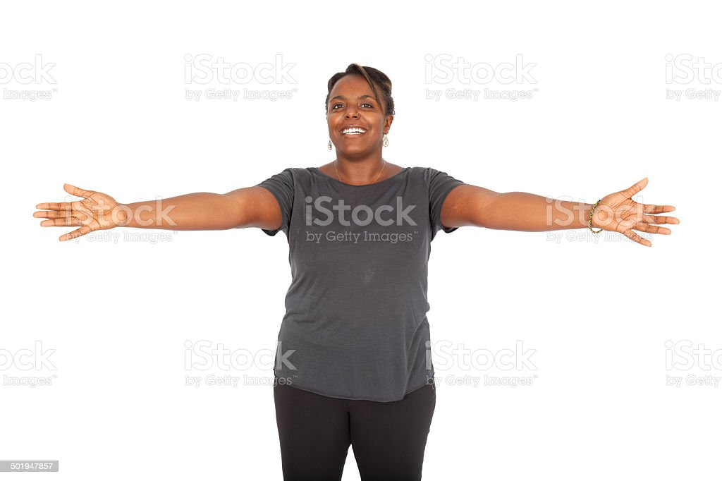 Beautiful black woman doing different expressions stock photo