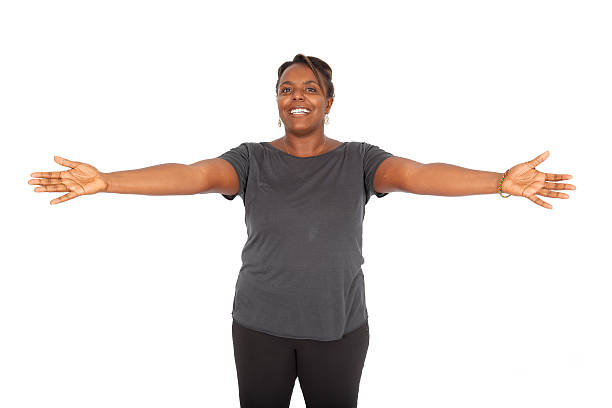 beautiful black woman doing different expressions - arms outstretched stock photos and pictures