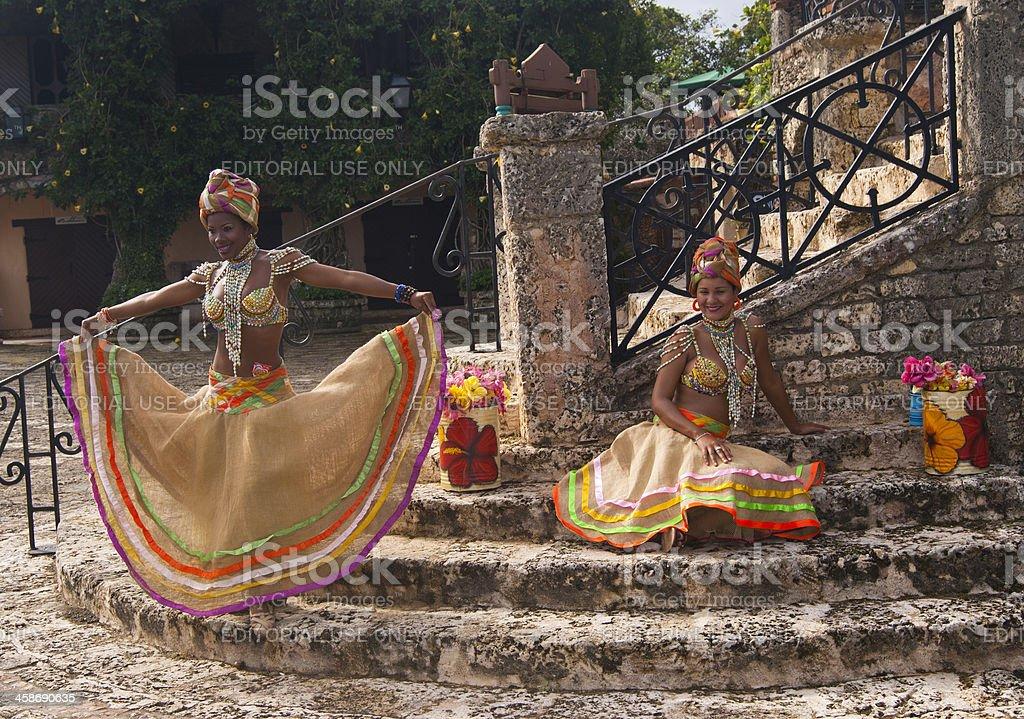Beautiful black woman on the caribbean carnival stock photo