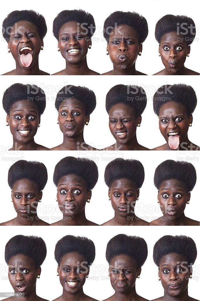 Beautiful Black Woman Portrait, Multiple Image stock photo