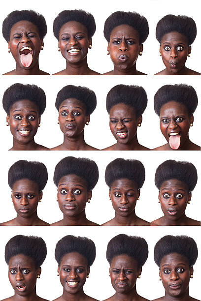 Beautiful Black Woman Portrait, Multiple Image stock photo