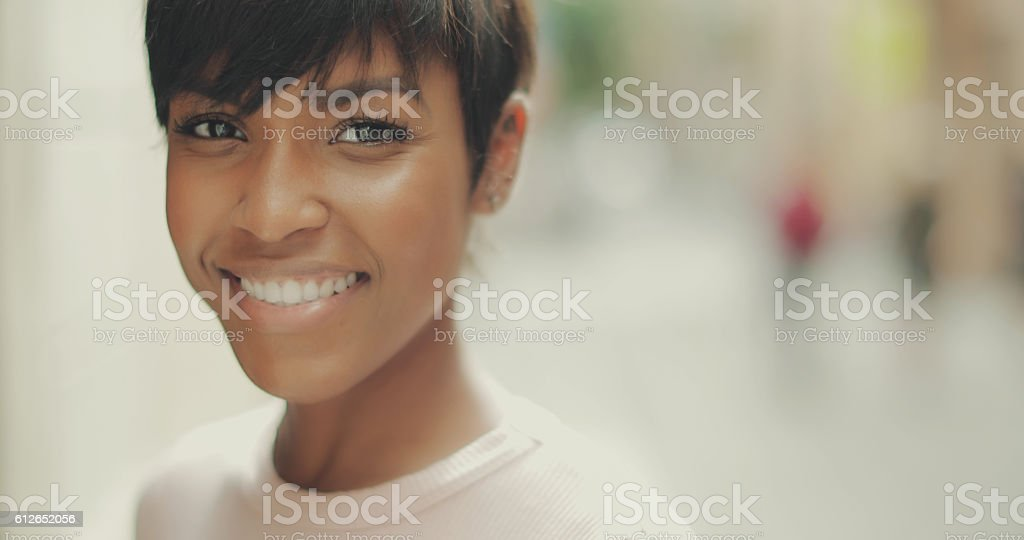 Beautiful black woman portrait stock photo