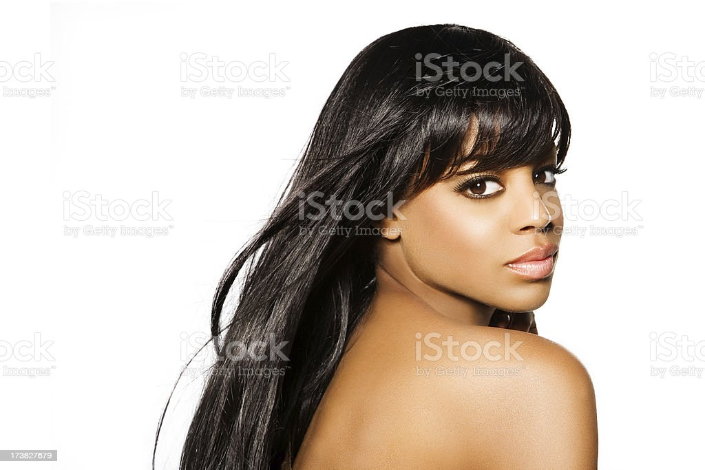 beautiful black woman with long hair royalty-free stock photo