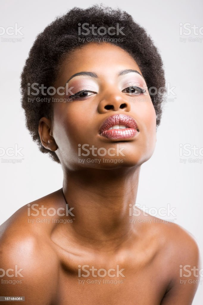Beautiful Black Woman with Professional Make UP royalty-free stock photo
