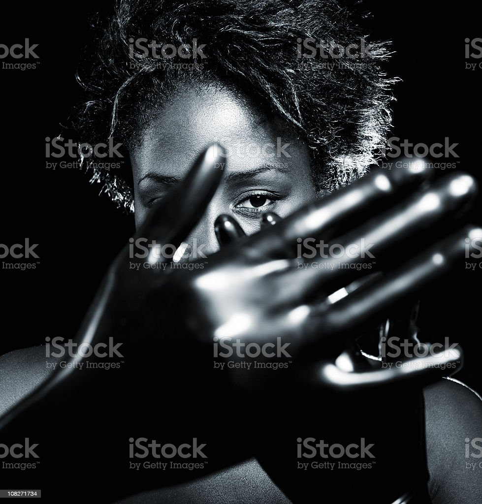 beautiful black young woman action portrait royalty-free stock photo