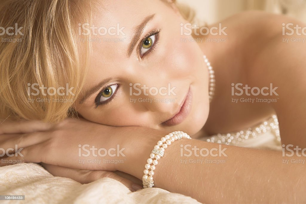Beautiful  blond bride with large green eyes royalty-free stock photo