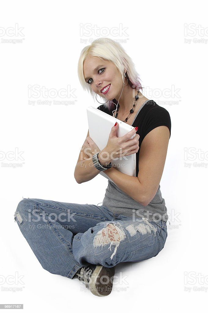 Beautiful blond girl hagging her laptop computer royalty-free stock photo