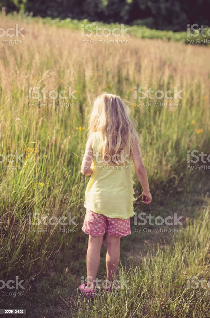 beautiful blond girl in the meadow stock photo