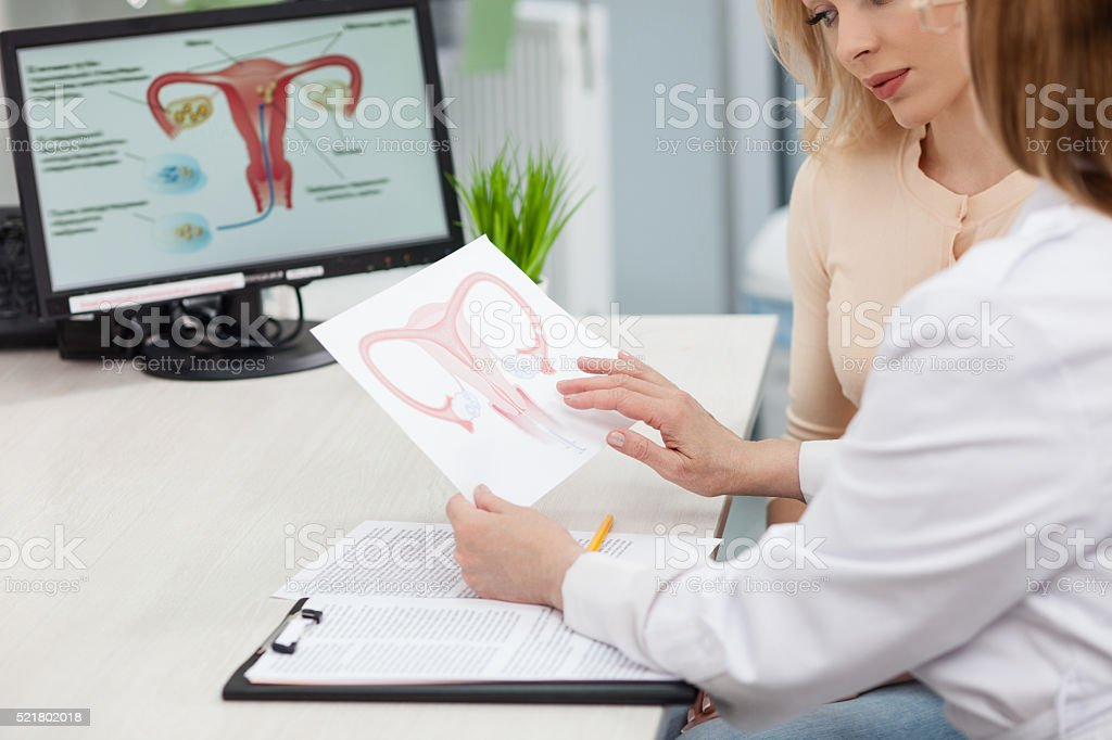 Beautiful blond girl is consulting a doctor stock photo