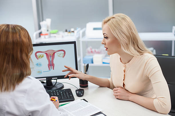 Beautiful blond girl is consulting with gynecologist stock photo