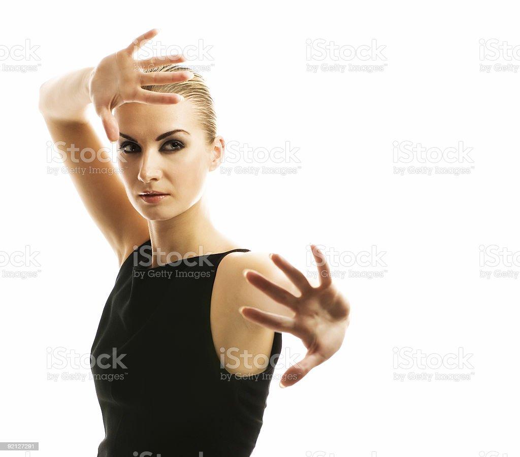 Beautiful blond girl isolated on white background royalty-free stock photo
