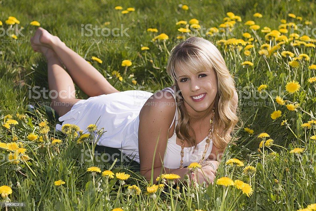 Beautiful blond girl outside royalty-free stock photo