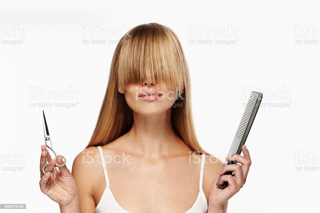 Beautiful blond hair care stock photo