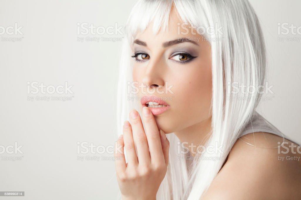 beautiful blond hair woman stock photo