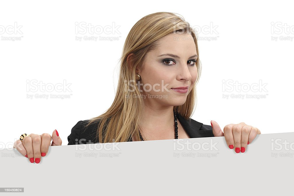 Beautiful blond holding blank sign royalty-free stock photo