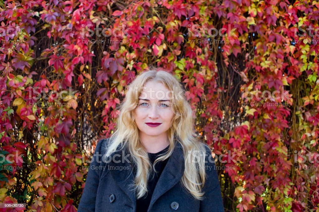 Beautiful blond near fence from leaves stock photo