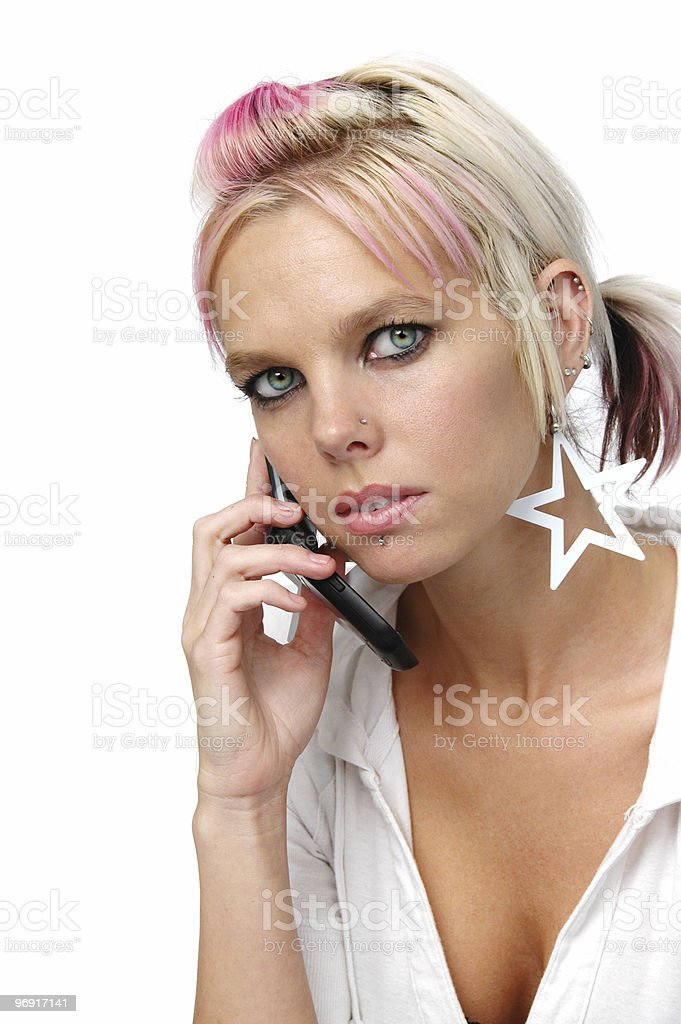 Beautiful blond on the cell phone royalty-free stock photo