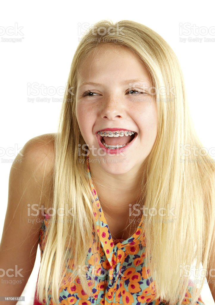 Beautiful Blond Ten Year Old Girl With Braces Laughing Stock Photo