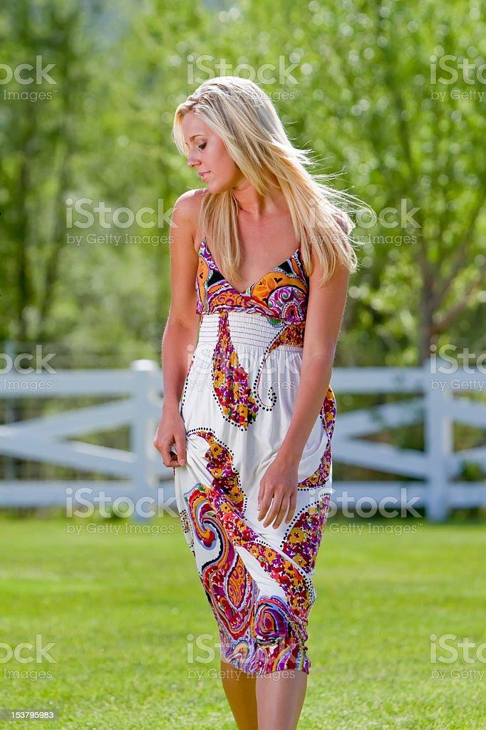 Beautiful Blond Walking royalty-free stock photo