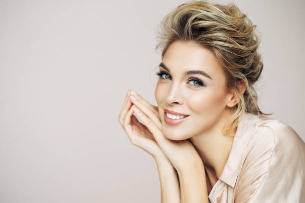 beautiful blond with perfect smile - beautiful woman stock photos and pictures