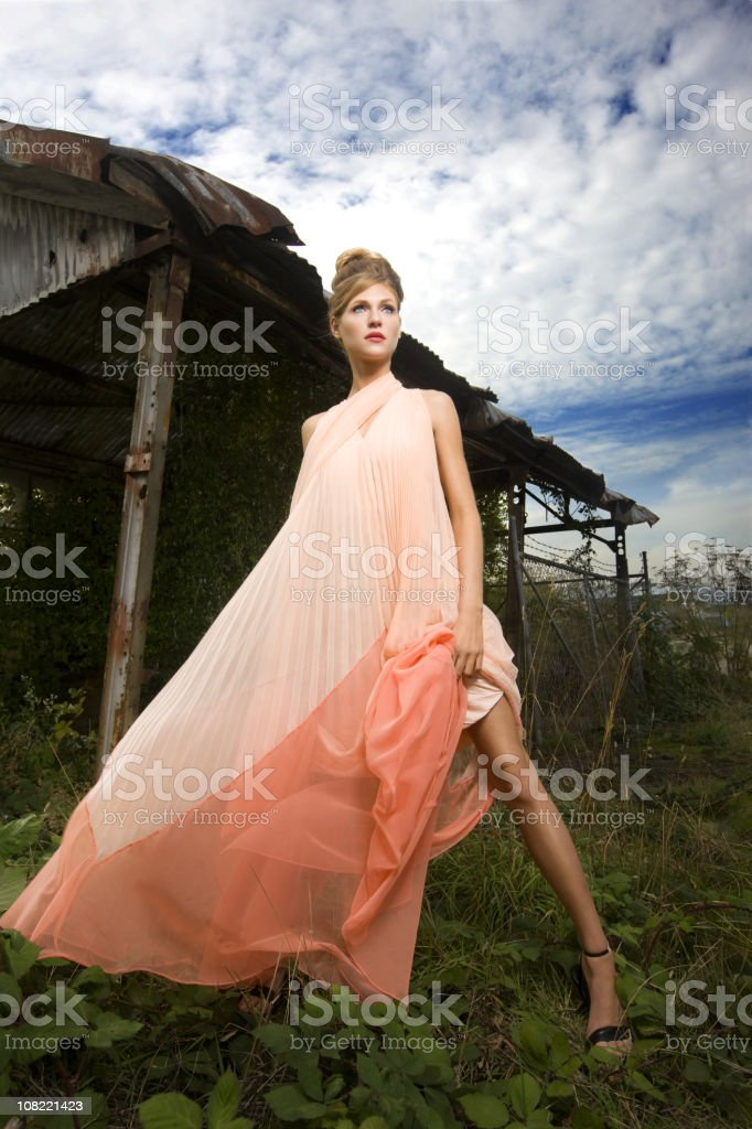 Beautiful Caucasian Fashion Model Outside in Flowing Pink Dress royalty-free stock photo