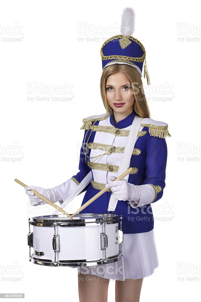 beautiful blond woman drummer isolated on white background stock photo