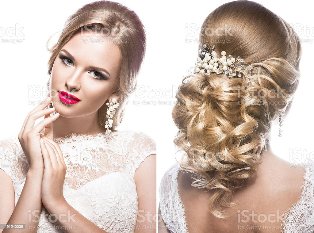Beautiful blond woman in image of the bride with wedding stock photo