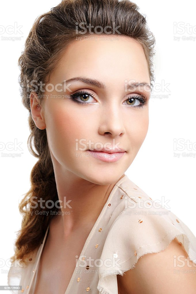 Beautiful blond woman with creative hairstyle royalty-free stock photo
