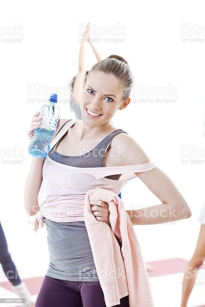 Beautiful blonde after fitness royalty-free stock photo