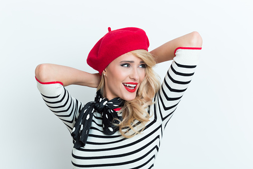 Beautiful Blonde French Woman Wearing Red Beret Stock Photo - Download Image Now