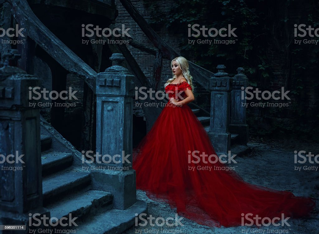 Beautiful blonde girl in a luxurious red dress. stock photo