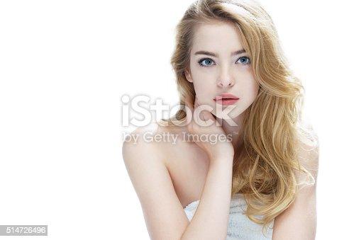 532331272 istock photo Beautiful blonde girl on white background. 514726496