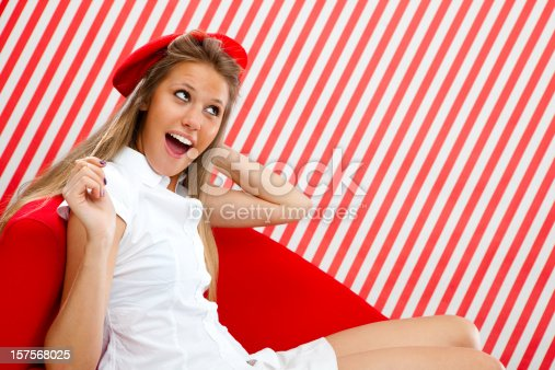 istock Beautiful blonde girl  with beret in red 157568025