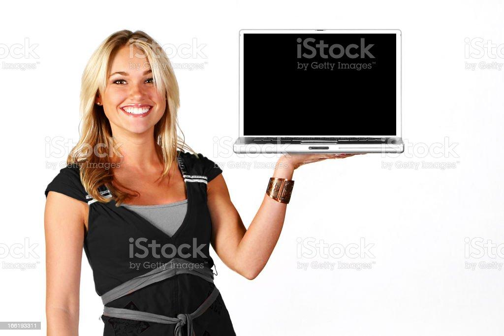 Beautiful Blonde Happy Girl Black Laptop Technology stock photo