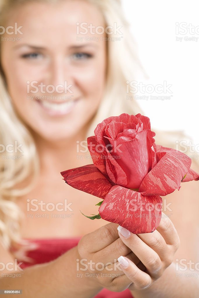 beautiful blonde holding red rose royalty-free stock photo