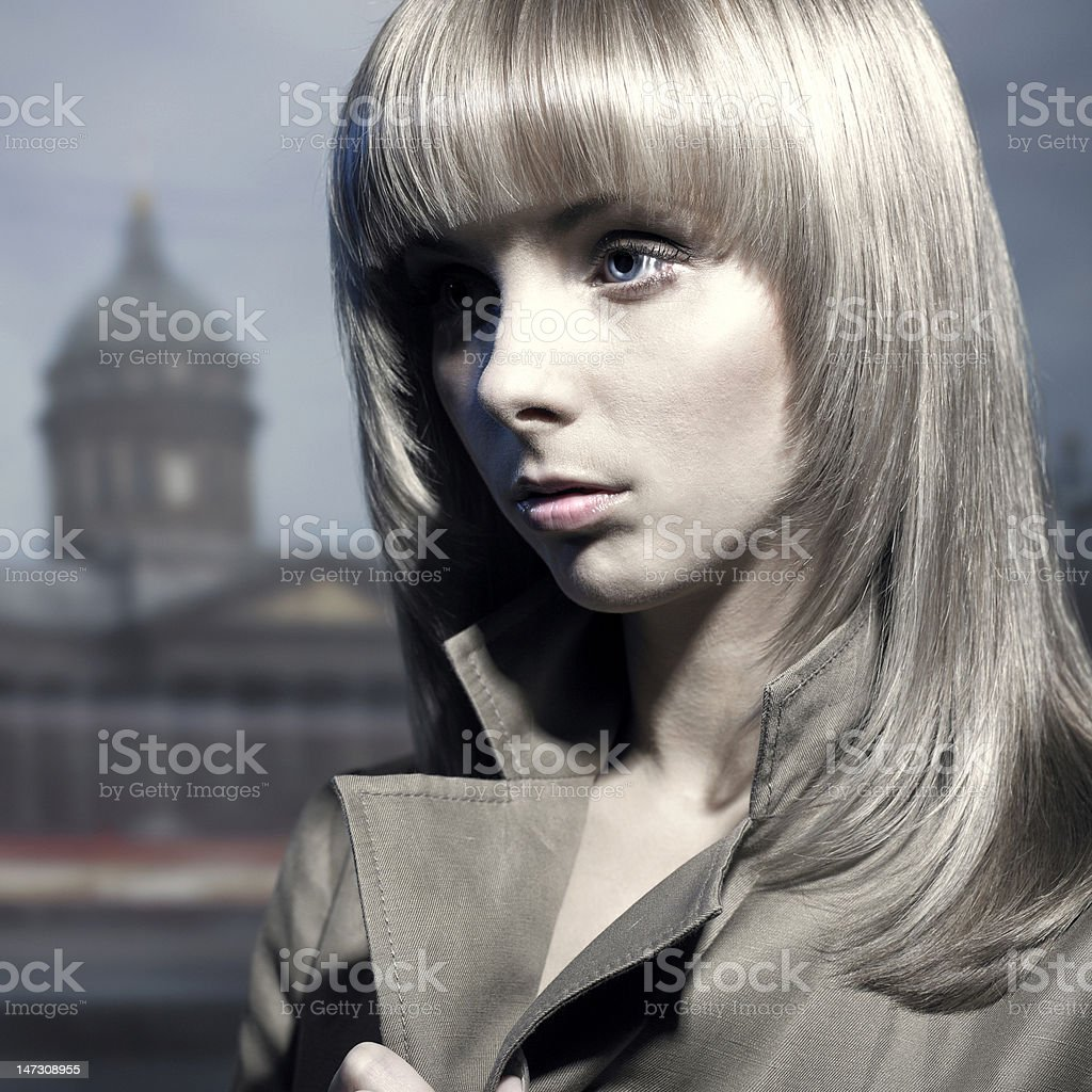 Beautiful blonde in a night city royalty-free stock photo