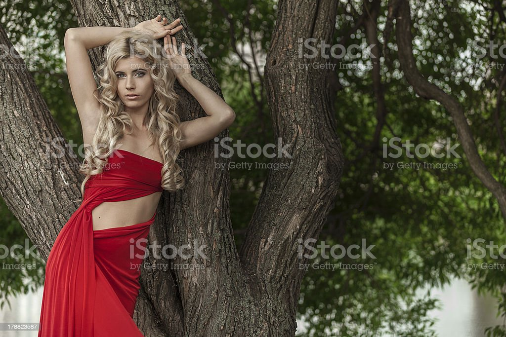 beautiful blonde in a red dress royalty-free stock photo