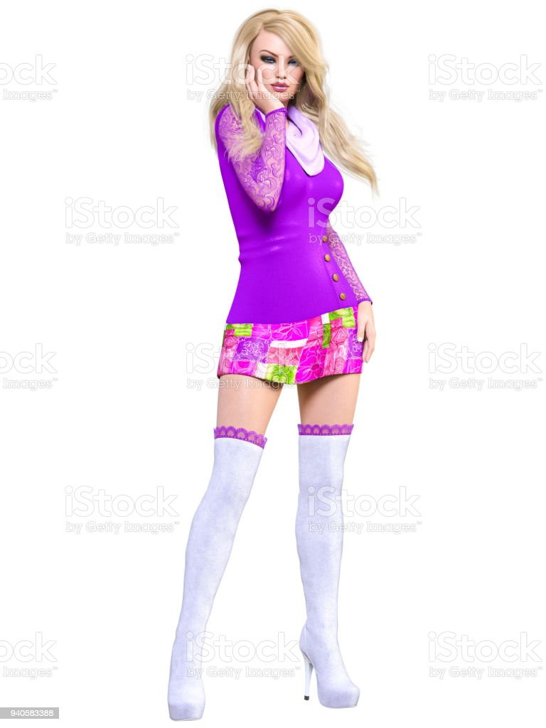 d0c0a3f2b7 Hermosa Rubia Vestido Y Larga Botas Foto de stock y más banco de ...