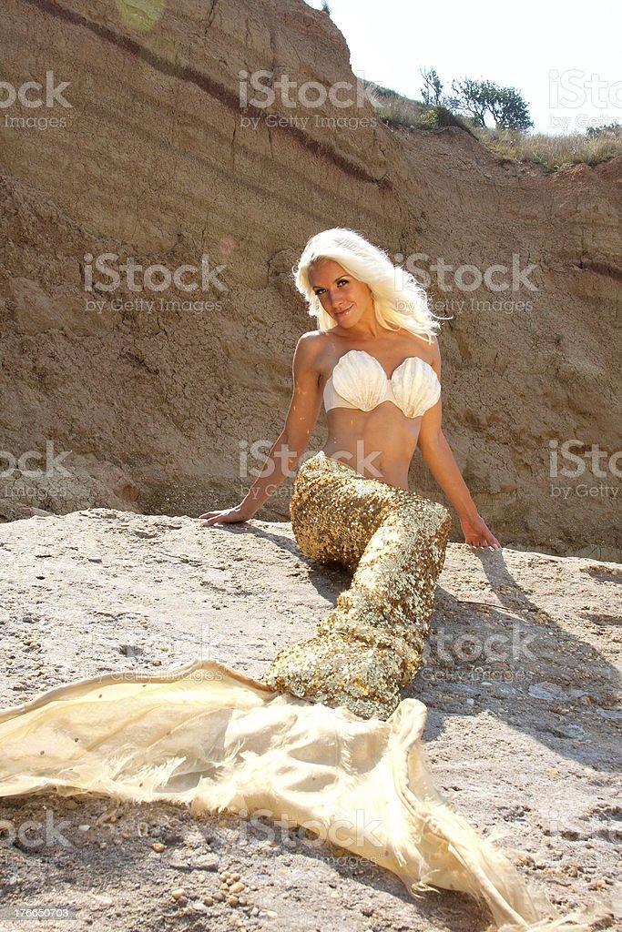 Beautiful blonde mermaid royalty-free stock photo